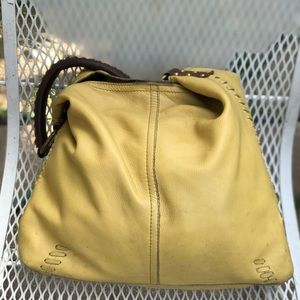 NO OFFER Lucky Brand Yellow Pebbled Leather Ho Bag